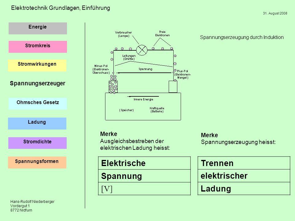 Elektrische Spannung [V] Trennen elektrischer Ladung Spannungserzeuger